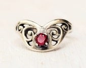 Sale - Sterling Silver Garnet Ring - Size 7 - Red Gemstone - Faceted - January Birthstone - Gift For Her - Birthday