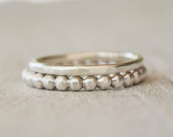 Silver Ball Bead Ring Set - Stacking Rings - Sterling Silver Rings - Modern Jewelry - Silver Ring - Hammered Ring