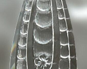 Teardrop Pendant Clear Stained Glass Jewel 32mm x77mm