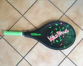 """Totally Rad 80s Tennis Racquet """"Wild Thing"""" NEON Pink & Green New Wave Punk Graphic Design 80s Party Genuine Wilson Athletic Sport Gear"""