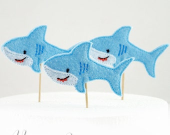Shark Cupcake Topper Embroidery Design, machine embroidery, ITH, in the hoop, 4x4, sharks, shark embroidery design, shark week, beach party