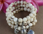 Acai Seeds Charms Bracelets - 3 - white - stackable, charms, shell, mermaid, turtle, beach summer