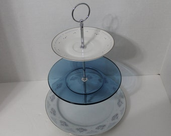 Blue, White and Silver Three Tiered Tray