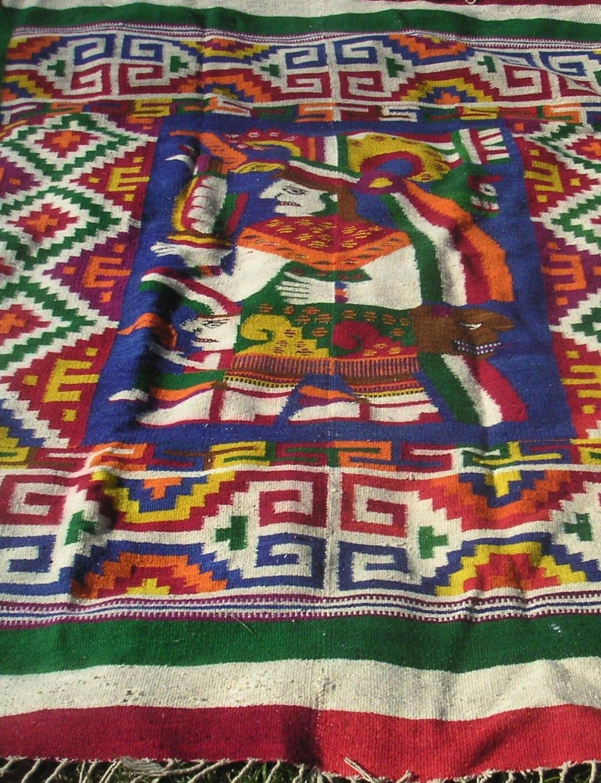 Vintage Area Rug Wall Hangingmexican Zapotec Aztec Mayan