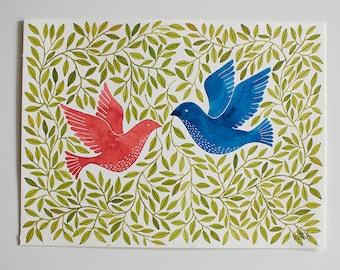 Original watercolor illustration - Birds