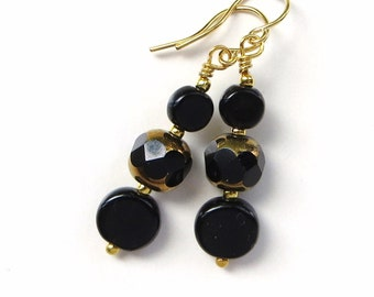 BLACK and GOLD- Long Dangle Beaded Earrings- Glass Beads and Sparkling Crystals- Gold Plated Earwires