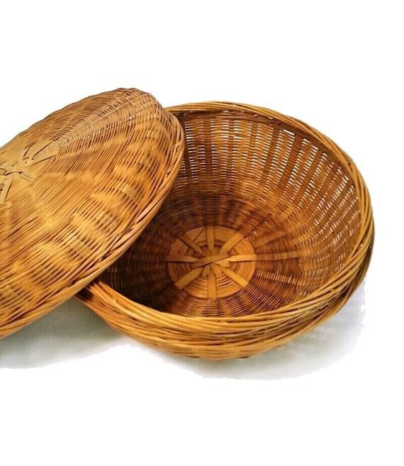 Handmade Pine Needle Baskets : Vintage lidded pine needle basket natural by oldsewlvintage