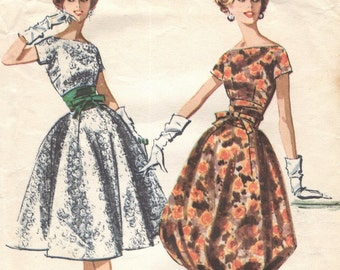Vintage '50s Suzy Perette dress pattern with balloon skirt option-- Advance 8812