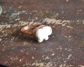 SALE Boho White Elephant Ring sz 7.5 Wire Wrapped Ring Copper Howlite Bohemian Jewelry
