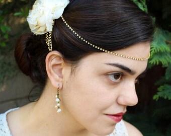 Bridal Hair Chain, Crystal Hair Piece, Hair Clip, Hair Jewelry, 1920s Headpiece, Hair Flower Bridal, Wedding Hair Comb, Wedding Hair Chain