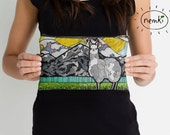 Llama Illustrated Zip Pouch, Make Up Bag, Pencil Case