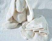 Baby's First Easter, Organic Bunny & Matching Mini Blanket, GOTS Certified Organic Cotton, Hemp Silk Satin, Alpaca Stuffing