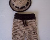 Crocheted Tweed with Brown Trim Fisherman/Outdoorsman Hat with Matching Longies/Pants - 0-3 Months Photography Prop