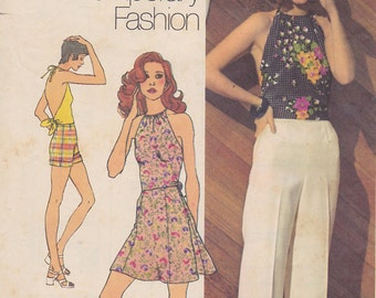 1972 Hippie Boho Tie On Halter Top, Mini Skirt Cuffed Shorts Pants Vintage Pattern, Simplicity 9971, Young Contemporary Fashion, Woodstock