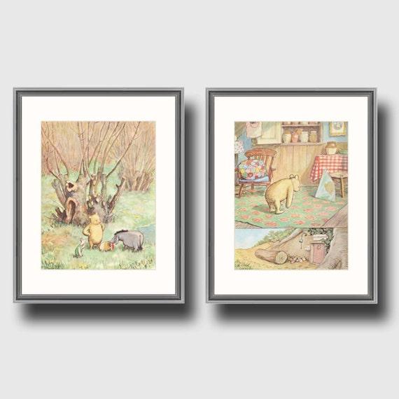 Shabby chic nursery decor sale vintage winnie by for Classic pooh nursery mural