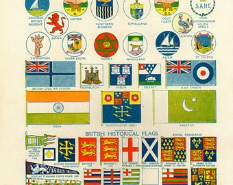 WORLD FLAGS PRINT 1950s 6968 illustrations lithograph paper print ephemeral upcycle recycle ephemera old mid century