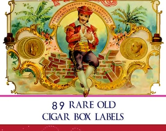 Vintage CIGAR BOX LABELS 89 Full Color illustrations 90 pages To Print Out For Scrapbooking or Craft Work Instant Download