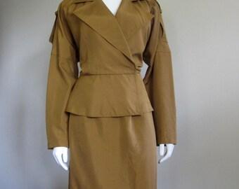 Ellen Tracy / Raw Silk Dress / 80s Suit / Copper / Safari / Designer Dress / Summer Suit / Work Clothes / 80s Does 40s