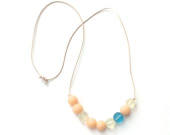 Modern Minimal Nursing Necklace - Babywearing Necklace - Boules - Colour Splash - Cream/Ivory and Sky Blue