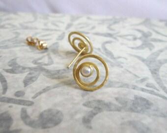 14k Solid gold pearl studs  , Gold circle stud earrings , Gold gemstone post earrings , Handmade by Adi Yesod