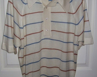 Vintage 1960s Men's Striped Sweater w/ Raglan Sleeves Large Only 5 USD