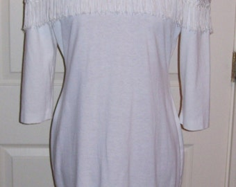 Vintage Ladies White Dress w/ Fringe Trim by Hearts Size 8 Only 8 USD