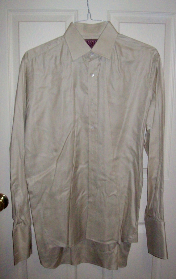 Vintage men 39 s beige dress shirt w french cuffs by by for Charles tyrwhitt shirts review