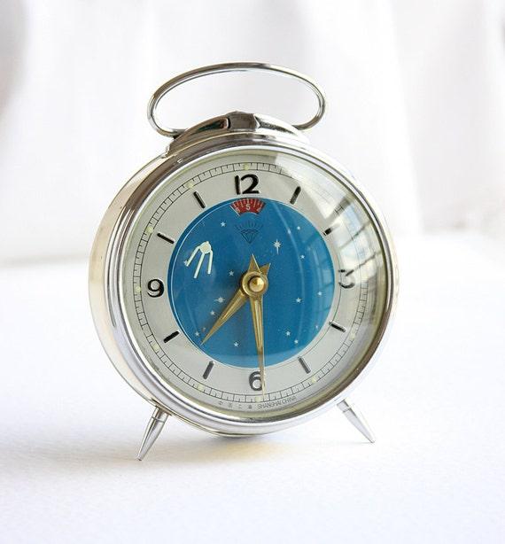 Vintage Table Clock Moving Space Rocket 1950s Sputnik Animated