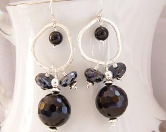 Black Dangle Earrings Black Onyx Jewelry Gemstone Beaded Earrings Black Spinel Sterling Silver Black Onyx Earrings Wedding Jewelry