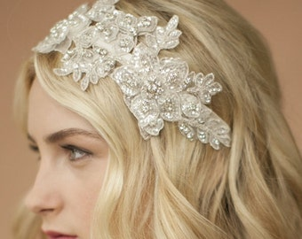Lace Bridal headband, Ivory or White Lace Wedding Headband Swarovski Crystals Beads Bridal headband Wedding headpiece tiara crown Wedding