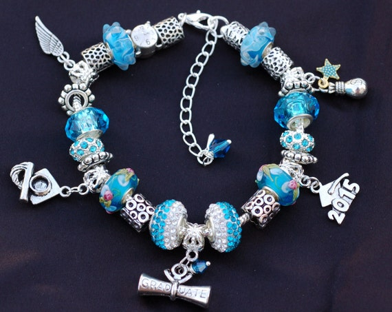 graduation 2015 european charm bracelet with charms adjustable