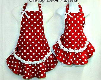 Aprons, Mommy & Me, RED White Polka Dots, RUFFLED Flounce, FUN Pretty Party Kitchen Gift