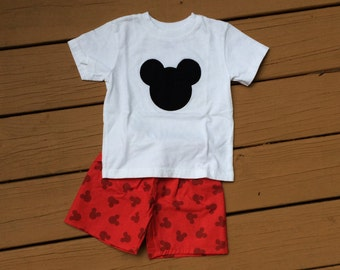 Boy's Mickey Mouse Appliquéd Shirt with Shorts