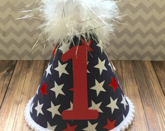 Patriotic Party Hat 1st Birthday Hat Cake Smash Birthday Photo Shoot Prop