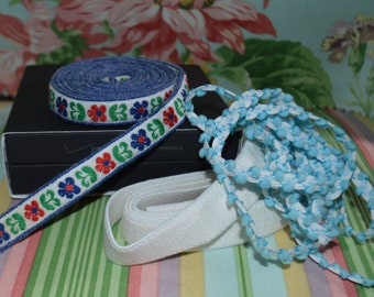 Floral Trim, Elastic, and a Puffy Blue Nylon Trim Sewing Notions