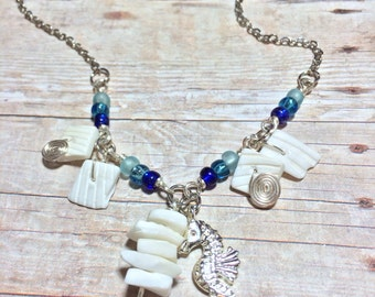 SALE...Puka Shell Necklace Gift For Her Seahorse Necklace Blue Bead Necklace Friendship Gift Beach Jewelry
