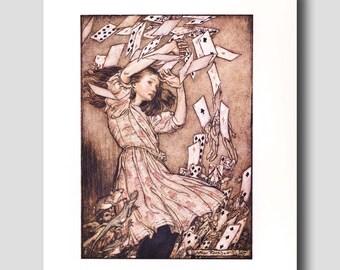 Alice in Wonderland Wall Decor -- Vintage Arthur Rackham -- Playing Cards Art Print  No. 199