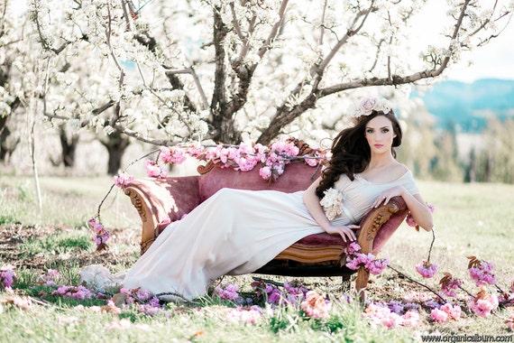 Silk Chiffon Wedding Dress with Train and Empire Waist. Custom made to Order Alternative Wedding Dress. The Duchess Gown.