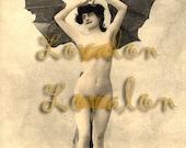 MATURE... Sexy Victorian Batgirl... Instant Digital Download... Vintage Erotic Photography... Vintage Nude Photo