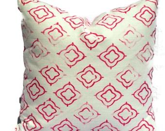 Ikat Pillow, 20x20 Pillow Cover, Decorative Pillow, Accent Pillow, 18x18 20x20 22xx22 or 14x20 Lumbar Pillow, Fuchsia and White Throw Pillow