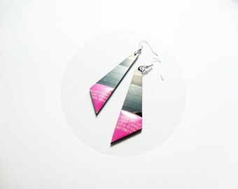 unique earrings vinyl record jewellery pink earrings modern earrings triangle dangle earrings music earrings edgy jewelry resin jewelry