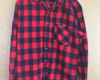 Red Flannel Gingham Long Sleeve Western Shirt - XL By Open Trails