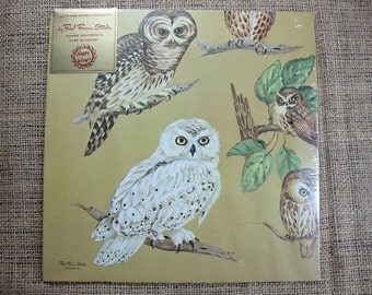 Vintage Owl Gift Wrap, NOS, In Original Package, Red Farm Studio Owl Print Gift Wrap, Happy Wraps Gift Wrap, 1970's  # 310