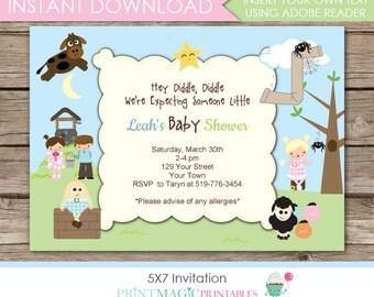 Nursery Rhyme Invitation - Nursery Rhyme Baby Shower - Nursery Rhyme Birthday Party - Instant Download & Edit in Adobe Reader