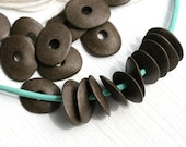 Cornflake beads, Greek Ceramic beads - Old patina, dark brown beads - donut, spacer, for leather cord, washer, 16mm - 10pc - 2573