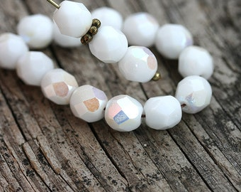 White beads, 6mm round beads, czech glass, Fire polished, AB finish, round faceted spacers - 30Pc - 2092