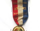 Antique AERIES F.O.E. Ribbon with Eagle Medal, 1913, Hollyoke, MA, Class Initiation