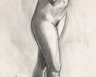 Original Life drawing of female Standing nude Girl charcoal on paper