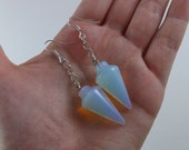 EARRINGS Ghostly Moonstone Opalite Glass Pendulum Earrings / Pendulums used in Paranormal Research