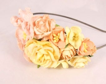 Pale Pink and Cream Floral Headband Flower Fascinator Vintage Wedding Party Bridal Accessory Bridesmaid statement